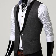 MEN'S Premium design-one button vest (gray)-26