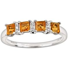 Sterling Silver Citrine and Diamond Accent Ring ($78) ❤ liked on Polyvore featuring jewelry, rings, orange, orange jewelry, citrine rings, sterling silver citrine ring, round ring and diamond accent jewelry