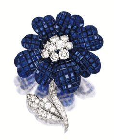 SAPPHIRE AND DIAMOND BROOCH, VAN CLEEF & ARPELS.  The petals mystery-set with calibré-cut sapphires, the flower centre, leaf and stem decorated by circular and baguette diamonds together weighing approximately 3.00 carats, mounted in platinum, signed and numbered M33814, stem detachable.