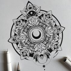 Tattoo Moon Lotus Mandala Design Ideas For 2019 Mandala Tattoo Design, Mandala Art, Colorful Mandala Tattoo, Dotwork Tattoo Mandala, Moon Mandala, Tattoo Designs, Design Tattoo, Mandalas Drawing, Geometric Tattoos