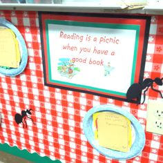 My sandwich book reports on a picnic bulletin board.