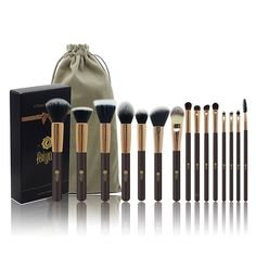 FEIYAN Professional 15 Pcs Makeup Brush Set Premium Synthetic Kabuki Cosmetics Eye Face Lip Foundation Blending Blush Powder Liquid Cream Brush Kit with Bag (Coffee). HIGH QUALITY BRUSHES - All brushes are made of soft Pony hair, super quality Synthetic, Aluminium Ferrule and Wood handle. Soft and Silky to touch and never shed. PORTABLE & FASHIONABLE BAG - Easy to take brushes with Drawstring Bag especially in travel or outdoor , keeping them clean and organized. MEET YOUR BASIC NEED - 15...