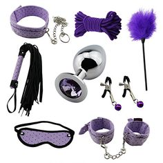 Paloqueth Adult Sex Toys 8 Pcs SM Restraints with Blindfold Wrist Cuff Ankle Cuff Neck Collar Whip Nipple Clamps Mouth Gag Stainless Steel Anal Plug Bed Restraints PU Leather Gay Bondage Kit for Bedroom Couple Lover Toys (Purple)