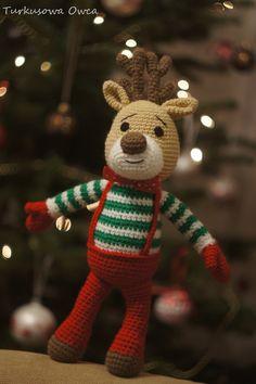 crochet, renifer, crochet toys, pattern, reindeer, reindeer crochet, reno, turkusowa owca, renifer na szydełku