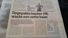 Opgepakte hacker (18) wacht mooie baan.  Algemeen Dagblad 7 januari 2014