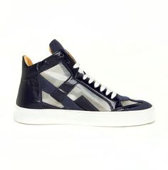 Martin Margiela Sneakers - 39 - 7 mens 9 womens Blue Leather Cut Out shoes #MartinMargiela #AthleticSneakers