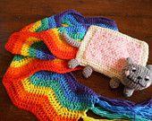 Crochet Nyan Cat pop tart kawaii meme rainbow scarf
