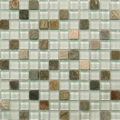 Sample- Natural Beach Stone Glass Mosaic Tile Kitchen Backsplash Bath Wall Sink
