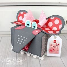 Shellye McDaniel-Elephant Valentine Treat Box with recycled Keurig Box. Scrapbook & Cards Today Blog /echoparkpaper/