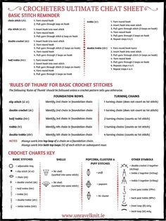 Crochet cheat sheet.