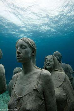 Ilha Mulheres, museu subaquático no México  Isla Mujeres, Mexico underwater museum