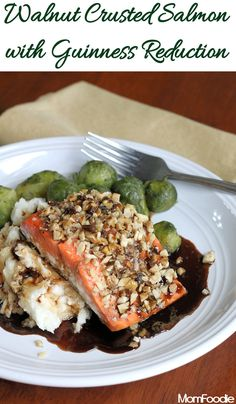 Walnut Crusted Salmon with Guinness Reduction (Healthy St. Patricks Day Recipe)