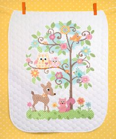 Stamped Cross Stitch Kit - Happi Tree Baby Quilt