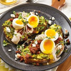 Our recipe for Chorizo and Soft Egg Avocado Toast features toasted artisan bread, smashed avocado, crumbled chorizo sausage, soft boiled eggs, Crema Mexicana and Spanish goat cheese. Yes, please!
