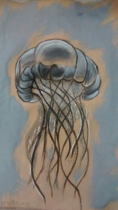 My chalk, paint, pastel and graphite jellyfish piece!