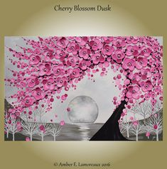 Original Art Painting Modern Abstract Impasto Cherry Blossoms Tree Flowering Pink Tree , Amber Lamoreaux Pink Flowers Blossoms Texture