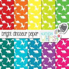 Dinosaur Digital Paper Pack – bright dinosaur patterns for digital scrapbooking – seamless pattern -dinosaur scrapbook paper –commercial use