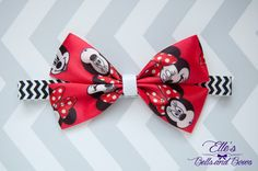 Handmade Red Minnie Mouse Boutique Bow on Black Chevron Elastic Headband by EllesBellsandBows on Etsy