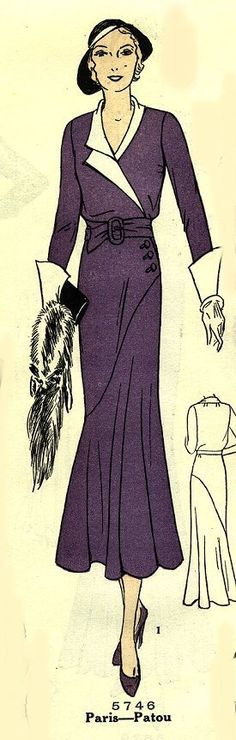 Pictorial Review 5746, 1930s sewing pattern adapted from a Patou design [from http://www.bestvintagepatterns.com/]