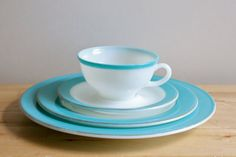 vintage pyrex milk glass | Turquoise Pyrex Dishes - Vintage 1950s Milkglass Plate, Saucer, Teacup ...