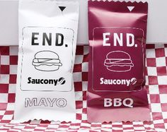 Mayo and BBQ lace packets :: Saucony Burger
