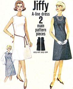 1960s Dress Pattern Simplicity 5508 Jiffy A Line by paneenjerez, $12.00