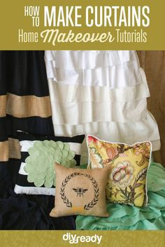 how to make curtains and pillows | Best online course to makeover your home on a budget!  Check it out at http://diyready.com/how-to-make-curtains-and-pillows-home-makeover-tutorial