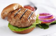 Moist, delicious and flavorful turkey burger! The addition of the mayonnaise adds a little needed fat to keep it moist, and you can't taste it at all. Great to freeze and have on hand for a quick meal! Buffalo Turkey Burgers, Grilled Turkey Burgers, Greek Turkey Burgers, Turkey Burger Recipes, Healthy Cooking, Cooking Recipes, Sweet Potato Buns, How To Cook Burgers, Recipe Finder