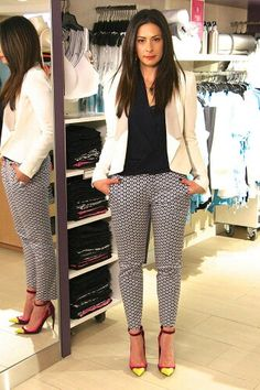 Stacy London, White Blazer by Rebecca Minkoff, Print Pants by Zara, Navy Blouse by T Babaton, Purple Pumps by Kurt Geiger Casual Work Outfits, Business Casual Outfits, Office Outfits, Work Attire, Work Casual, Casual Chic, Stylish Outfits, Office Fashion, Work Fashion