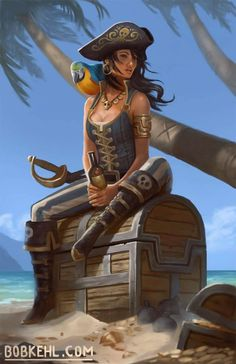 f Rogue Thief Pirate Leather Armor Hat Sword Parrot coastal beach sea jungle treasure chests Bob Kehl Pirate Art, Pirate Woman, Pirate Life, Pirate Ships, Pirate Skeleton, Pirate Wench, Dnd Characters, Fantasy Characters, Female Characters