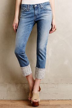 AG Stevie Embroidered Cuff Jeans  #anthropologie