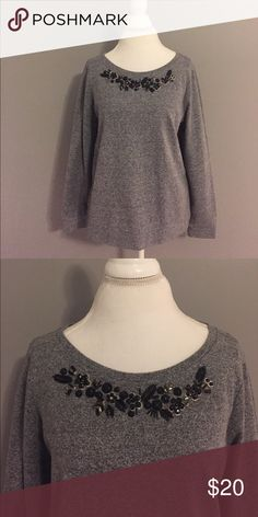 LOFT: Grey blouse w/ beaded neckline This is one of the most comfortable blouses I've ever owned! Great for work or for a casual evening. LOFT Tops Sweatshirts & Hoodies