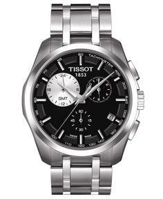 Classic presentation that won't go unnoticed during the passing of time, by Tissot. This Couturier collection watch features a stainless steel bracelet and round case. Black chronograph dial with appl