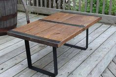 Items similar to Industrial Rustic Coffee Table, Reclaimed from salvaged wood and metal on Etsy