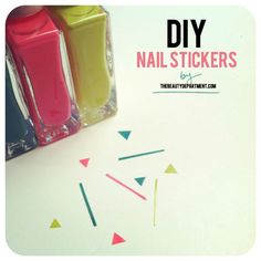 DIY Nail stickers:  Apply nail polish onto scotch tape, let dry 30 min, cut strips, rectangles, apply to pre-polished nails sticky side down, apply a good top coat.