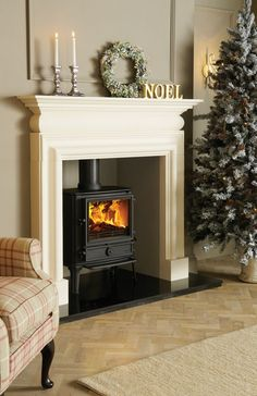 modern oak fireplace beam for stovax stove Fireplace Beam, Log Burner Fireplace, White Fireplace, Wood Burner, Fireplace Design, Fireplaces, Home Living Room, Living Spaces, Log Burning Stoves