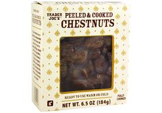 Trader Joe's Peeled & Cooked Chestnuts are cherished. Harvested in Ardèche, France, our chestnuts are expertly shelled. The starchy-sweet brown fruits are then washed, peeled and steamed, so they're ready to use right out of the package. No fuss, no muss. No fancy price tag, either. Each 6.5 ounce package is $3.99.