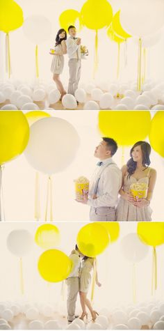 Lot and lots of big yellow and white balloons served as perfect props for the engagement shoot! Photography by hong-photography.com
