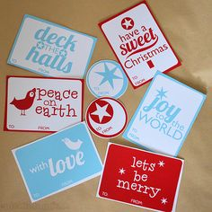 Free Printable Christmas Gift Tags - from picklebums.com - in red and white or blue and white. Simple and sweet!