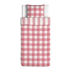 EMMIE RUTA Bettwäscheset, 2-teilig - rosa/weiß, 150x200/50x60 cm - IKEA
