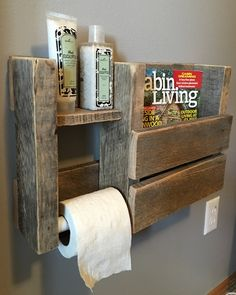 This toilet paper/Magazine holder looks wonderful in a modern rustic bathroom. Displays your toilet paper and additional items on its sturdy shelf, while also keeping your favorite magazines beautifully displayed! Dimensions 18.5x12x4 The natural style of the wood we choose varies from board to board. Like a snowflake, no two pieces of wood are the same, so expect minor variations such as tiny cracks, knots, and nail holes, all of which display the history of your piece. At our works...