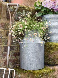 This lovely galvanised zinc milk churn adds a touch of rustic charm as well as height to your garden, whether it's a vintage country style or more minimalist space. Group them with smaller pots or line them up together for a stunning look. Zinc Planters, Garden Planters, Container Plants, Container Gardening, Plant Design, Garden Design, Milk Churn, Style Rustique, Cottage Garden Plants