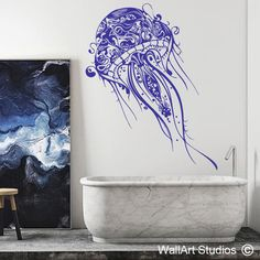 This awesome tribal jellyfish wall art sticker is a huge hit! It introduces a fascinating design focal point to any room in the home. Wall Stickers, Wall Decals, Wall Art, Love Illustration, Wet Rooms, Vintage Industrial, Home Interior Design, Street Art, Artsy