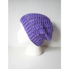 Lilac Slouchy Skullcap Beanie Hat, ready to ship. (€40) ❤ liked on Polyvore featuring accessories, hats, slouchy beanie, slouch beanie, slouch hat, print hats and slouch beanie hats