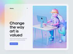 Aimm. 2 - Hero header concept by Tran Mau Tri Tam ✪ Ux Design, Design Model, Website Header Design, Website Illustration, Ui Design Inspiration, 3d Character, 3d Animation, Interactive Design, Motion Design