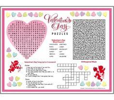 valentines activity placemat