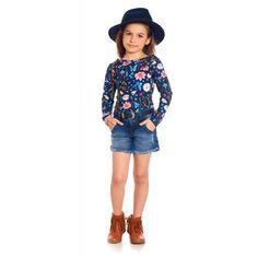62e6240b63 Conjunto Infantil Body Manga Longa e Shorts Jeans - Bugbee