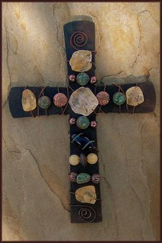 Mission Wall Cross with yellow and green gemstones