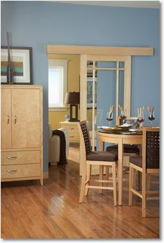 """Easy Wall Mounted 'Pocket' Door Installation - - - how cool is this - - possible solution to the master bathroom. Johnson Hardware's Series 200 Wall Mounted Sliding Door hardware makes it actually EASY. The hardware comes in a couple different 'grades'. the 2610F is for doors that weigh up to 200 lbs and measure 1"""" to 1-3/4"""" thick, wich prices start at 49 bucks. The 200WM is a heavy duty option for doors that weigh up to 300 lbs and are thicker than 1-1/8""""; its prices start at $175…"""