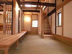 玄関土間 Japanese Modern House, Japanese Home Design, Traditional Japanese House, Japanese Interior, Asian Architecture, Interior Architecture, Zen Design, House Design, Prairie House